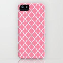 Moroccan Trellis, Latticework - Pink White iPhone Case