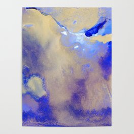 Gold & Royal Blue Abstract Ink Art Poster