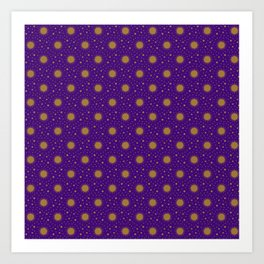 Astrological Purple Stars and Sun Art Print