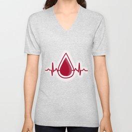 Blood Donation Give Life Heartbeat EKG Graphic print Unisex V-Neck