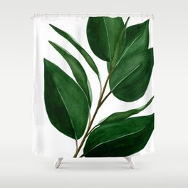 Watercolor Rubber Tree Shower Curtain