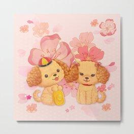 dog couple sweet sakura Metal Print