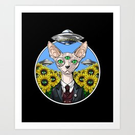 Psychedelic Sphynx Cat Alien Abduction Art Print