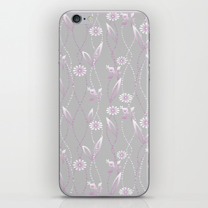 Gray lilac floral pattern . iPhone Skin