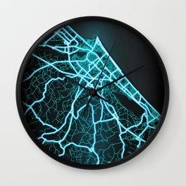 Rimini, Italy,  Blue, White, Neon, Glow, City, Map Wall Clock