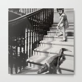 Little Girl with Pet Alligator on a leash black and white photograph / black and white photography Metal Print
