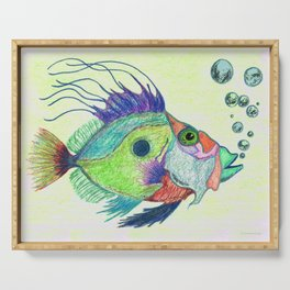 Funky Fish Art - By Sharon Cummings Serving Tray