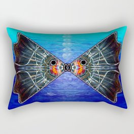 Fishies in Love, Kissing Fishes, Scanography Art Rectangular Pillow