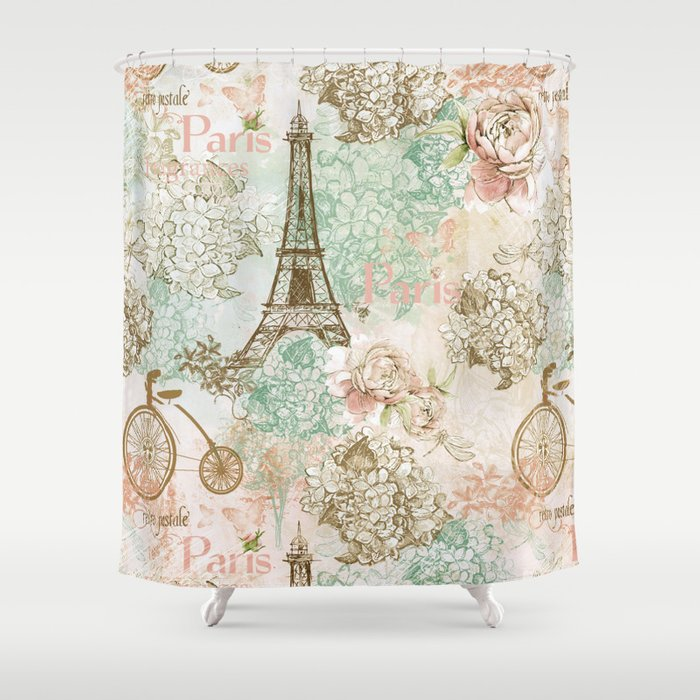 I Love Paris   Vintage Shabby Chic   Eiffeltower France Flowers Floral Shower  Curtain