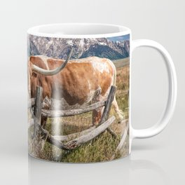Texas Longhorn Steer with Wood Log Fence in Wyoming Pasture Coffee Mug