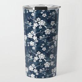 Navy and white cherry blossom pattern Travel Mug