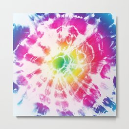 Tie-Dye Sunburst Rainbow Metal Print