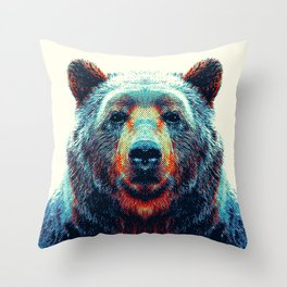 Bear - Colorful Animals Throw Pillow