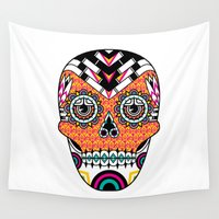 deco Wall Tapestries featuring Deco Skull by Jorge Garza