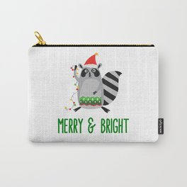 Merry & Bright Racoon with Christmas Lights Carry-All Pouch