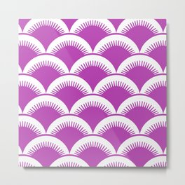 Japanese Fan Pattern Magenta Metal Print