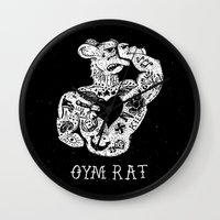 gym Wall Clocks featuring Gym Rat by Textures