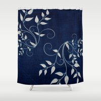 levi Shower Curtains featuring Denim by Saundra Myles