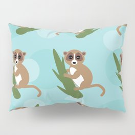 pattern - lemur on green branch on blue background Pillow Sham
