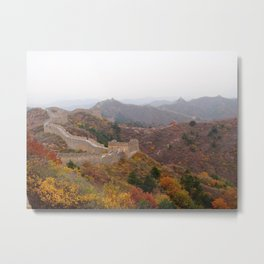 Great wall of china with mountains and colorful wild plants arround Metal Print