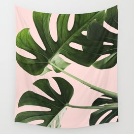 Monstera x Pink Wall Tapestry