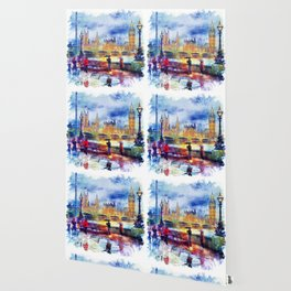 London Rain watercolor Wallpaper