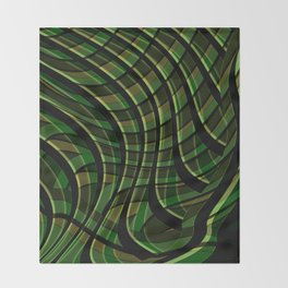 Green wave ,green Throw Blanket