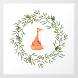 Cute Fox in Acorn Wreath Art Print