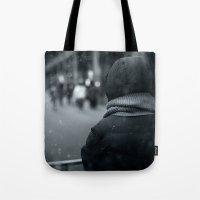 conan Tote Bags featuring Waiting for Conan by Benjamin Hunter