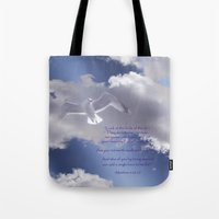bible verses Tote Bags featuring Seagull with Matthew 6:26-26 Verses by Photos and Images by Corri