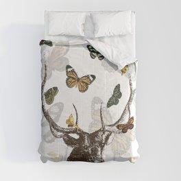 The Stag and Butterflies | Deer and Butterflies | Vintage Stag | Vintage Deer | Antlers | Woodland | Comforters