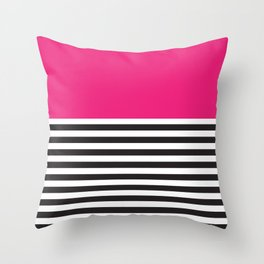 Hot Pink Magenta and Black and White Stripe Throw Pillow