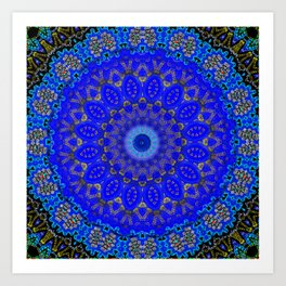Mandala in Cobalt And Gold Art Print