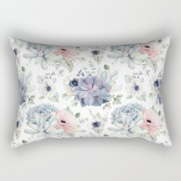 Succulents Blue + Rose Pink on White Rectangular Pillow