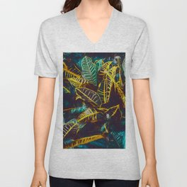 Tropical Leaves Fantasy - A Pattern Unisex V-Neck