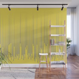 Minimal Frequency Line Art Pattern Pantone 2021 Color Of The Year Illuminating and Ultimate Gray  Wall Mural
