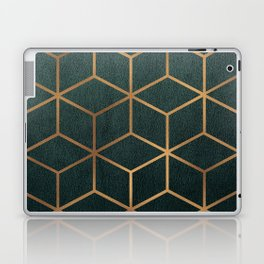 Dark Teal and Gold - Geometric Textured Gradient Cube Design Laptop & iPad Skin