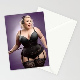 """Help Me With These Laces?"" - The Playful Pinup - Curvy Corset Pinup Girl by Maxwell H. Johnson Stationery Cards"