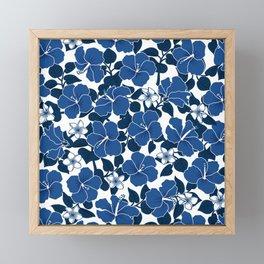 Hibiscus and Plumeria - Blue Framed Mini Art Print