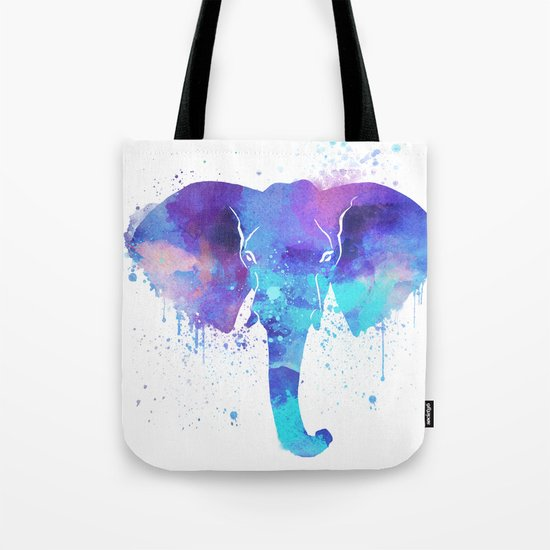 Watercolor Elephant Head Tote Bag