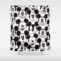 mickey Shower Curtains featuring Mickey Mouse by Pink Berry Patterns