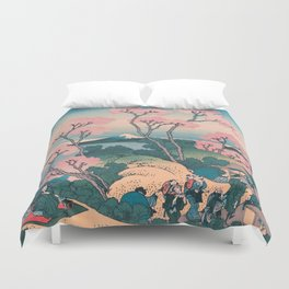 Spring Picnic under Cherry Tree Flowers, with Mount Fuji background Duvet Cover
