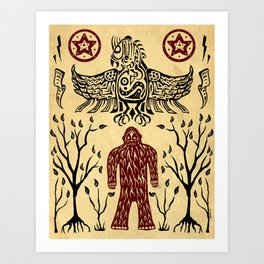 The Legend (Thunderbird Makes The Hairy Man Hide Himself) Art Print