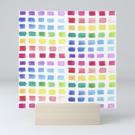 Watercolor paint palette swatches sample or color chart in rainbow hues Mini Art Print