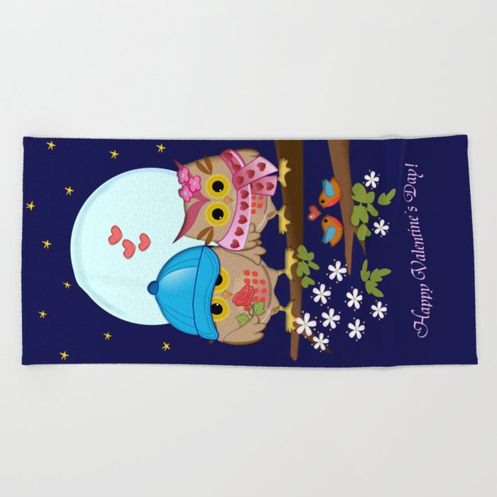 Blue moon Valentine's Owls Beach Towel