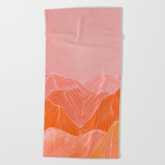 Lines in the mountains - pink II Beach Towel