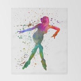Woman in roller skates 08 in watercolor Throw Blanket
