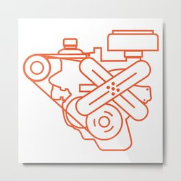 Minimalist Slant Six Engine Metal Print
