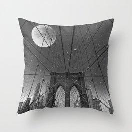 Blood Moon over Brooklyn Bridge and New York City Throw Pillow