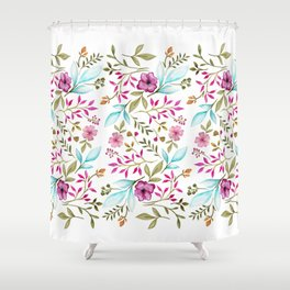 Watercolor Botanical Floral Leaves by Ms. Parasol Shower Curtain